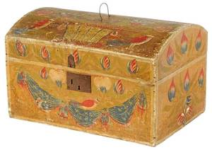 Scandinavian Paint Decorated Dome Top Box