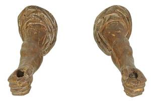 Pair Renaissance Style Carved Arm Form Sconces