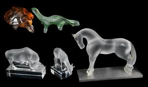 Group of Five Lalique Animals