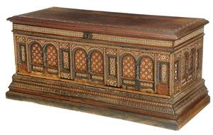 Moorish Carved and Inlaid Lift Top Chest