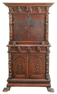 Renaissance Style Carved Fall Front Cabinet