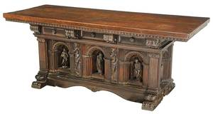 Italian Renaissance Style Carved Library Table