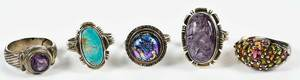 Five Sterling Silver and Gemstone Rings