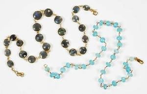 Two Sterling Silver Gemstone Necklaces