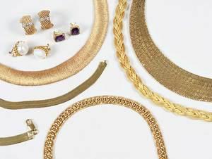 Eight Pieces Vermeil Jewelry