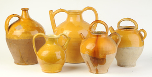 Five Pieces French Provincial Glazed Earthenware