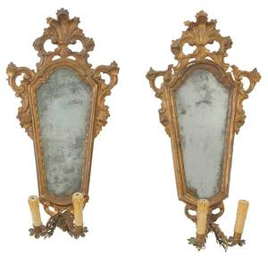 Pair Venetian Baroque Carved Girandoles