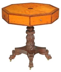American Classical Carved Pedestal Table