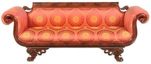 American Classical Carved Mahogany Sofa