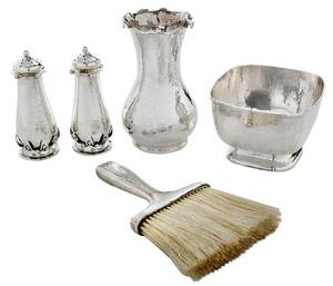 Five Sterling Hammered Items
