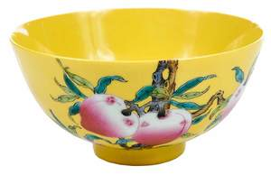 Chinese Yellow Ground Bowl With Peaches and Bats