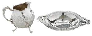 Sterling Boston Dish and Silver Pitcher