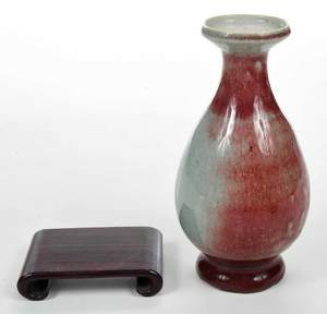 Chinese Flambe Vase with Wooden Stand
