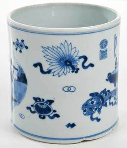 Qing Dynasty Underglaze Blue Brush Pot