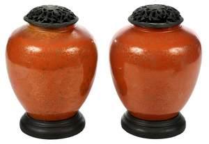 Pair Chinese Orange Gilt Ginger Jars