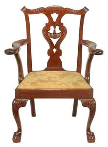 New York Chippendale Carved Mahogany Armchair
