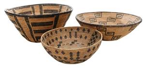 Three Native American Coiled Baskets