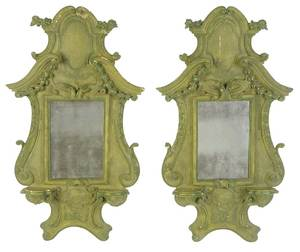 Pair Provincial Louis XIV Style Carved Mirrors