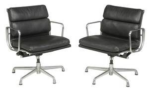Pair Eames Soft Pad Group Management Chairs