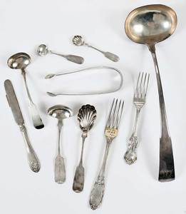 New York Coin Silver Flatware, 30 Pieces