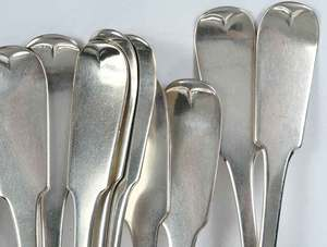 Set of 12 Coin Silver Serving Spoons