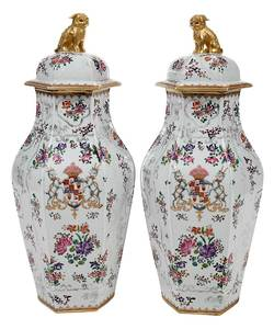 Pair Samson Armorial Porcelain Urns