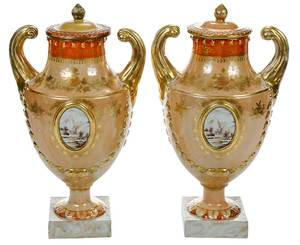 Pair Chinese Export Lidded Porcelain Urns