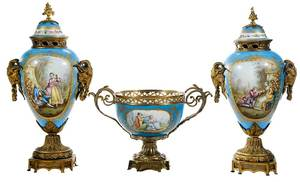 Three Piece Sevres Porcelain Garniture Set