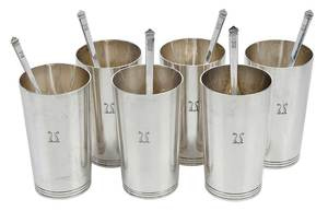 Set of Six Tiffany Sterling Tumblers, Stirrers