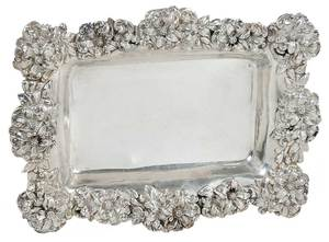 Sterling Floral Rim Footed Tray