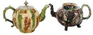 Two Creamware Whieldon Type Teapots