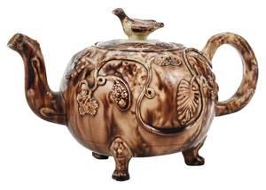Staffordshire Creamware Whieldon Type Tea Pot