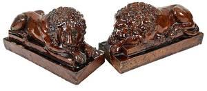 Pair Stoneware Recumbent Lions