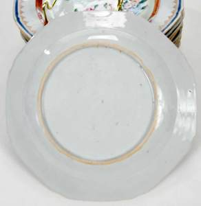 Ten Chinese Export Famille Rose Plates
