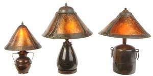 Three Arts and Crafts Copper, Bronze, Mica Lamps