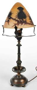 Art Glass Lamp with Daum Nancy Signed Shade