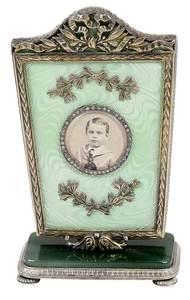 Fabergé Gilt Silver, Enamel and Jade Frame