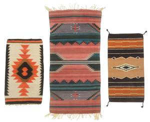 Three Southwestern Saddle Blanket Style Weavings