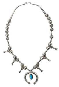 Southwest Silver Squash Blossom Necklace