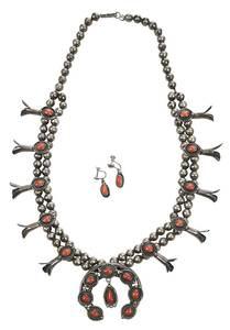 Southwest Squash Blossom Necklace & Earclips