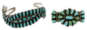 Two Southwest Silver Turquoise Cuff Bracelets