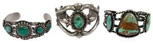 Three Southwest Silver Cuff Bracelets
