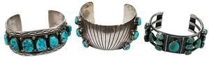 Three Southwest Silver Turquoise Bracelets