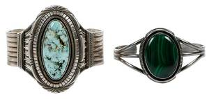 Two Southwest Silver & Gemstone Cuff Bracelets