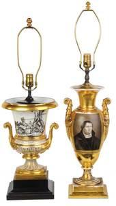 Two Vieux Paris Gilt Porcelain Urn Lamps