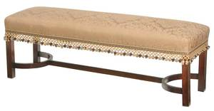 Chippendale Style Damask Upholstered Bench