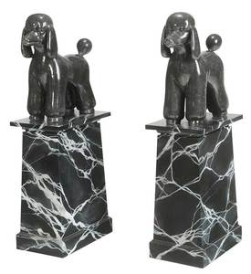 Pair Carved Marble Poodles on Marbleized Plinths