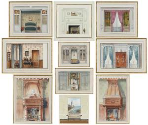 Ten Watercolor Interior Elevations