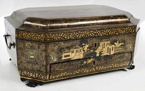 Chinese Lacquered Sewing Box, Gilt Decoration
