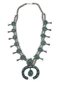 Southwest Turquoise Squash Blossom Necklace